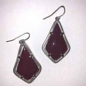 Maroon and silver earrings
